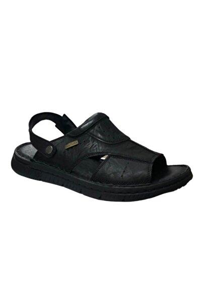 Pierre Cardin Kadın Siyah Erkek Deri Ortopedik Sandalet 2614