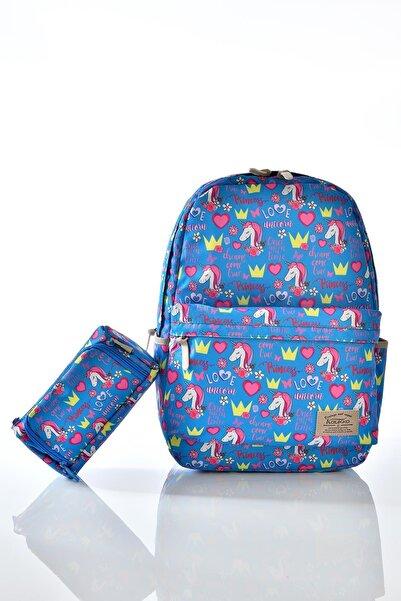 KAUKKO K1123 Unicorn Desenli Kalemlikli Set Okul Sırt Çantası