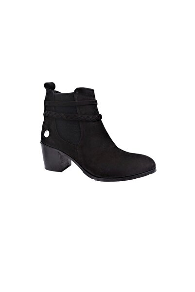 Kadın Siyah Nubuk Kalın Topuklu Bot