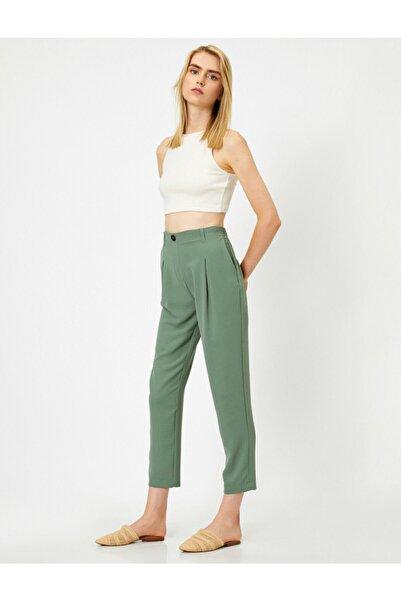 Koton Kadın Yeşil Pileli Cepli Yüksek Bel Pantolon