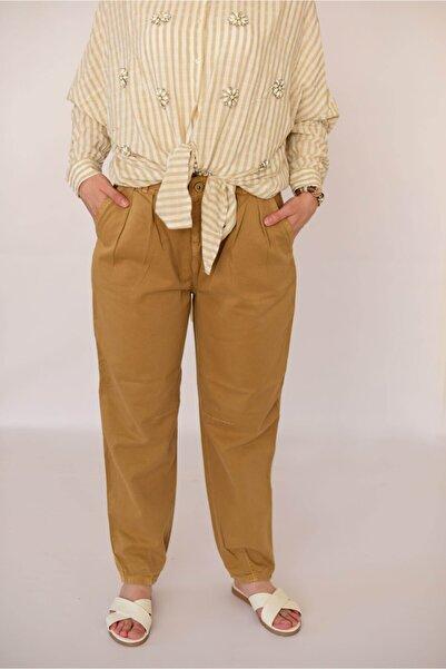 Kadın Camel Pileli Slocy Pantolon