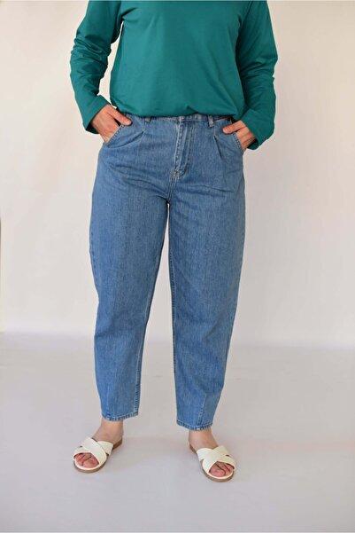 Kadın Mavi Pileli Mom Jean Pantolon