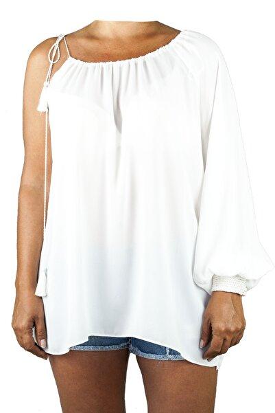 Lefon Kadın Beyaz Tek Kol Bluz