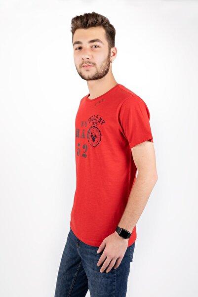 Erkek Kırmızı Trac 50 Yazılı Sıfır Yaka Kısa Kol T-Shırt