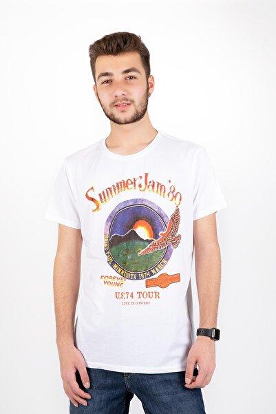 Erkek Beyaz Sıfır Yaka Summer Jam 80 Yazılı T-Shirt