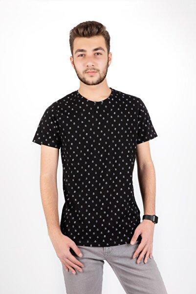 Erkek Siyah Capa Baskılı Sıfır Yaka Kısa Kol T-shirt