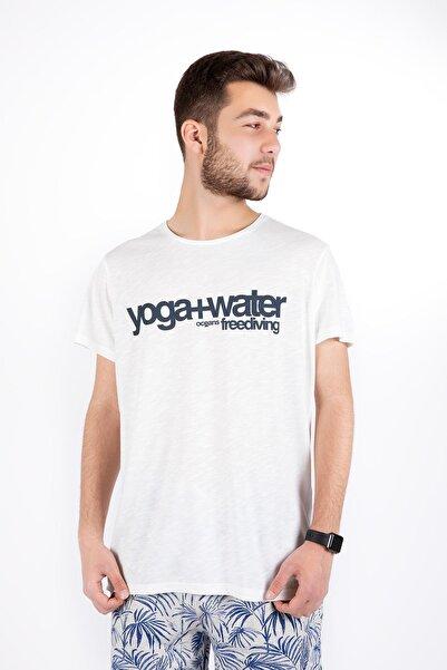 Erkek Beyaz Sıfır Yaka Yoga+water Yazılı Kısa Kol Tshirt 20502