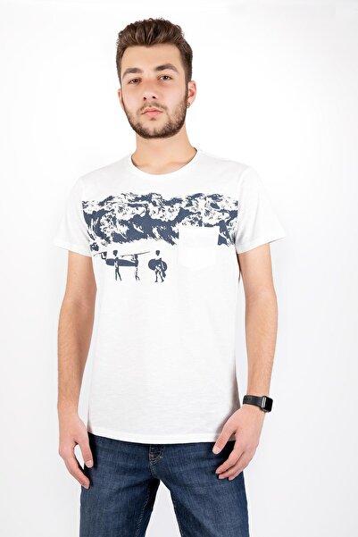 Erkek Beyaz Sıfır Yaka Sörf Tişört
