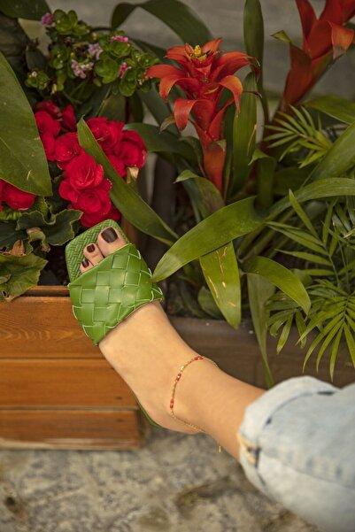 STRASWANS Fell Bayan Terlik Bottega Detay Yeşil