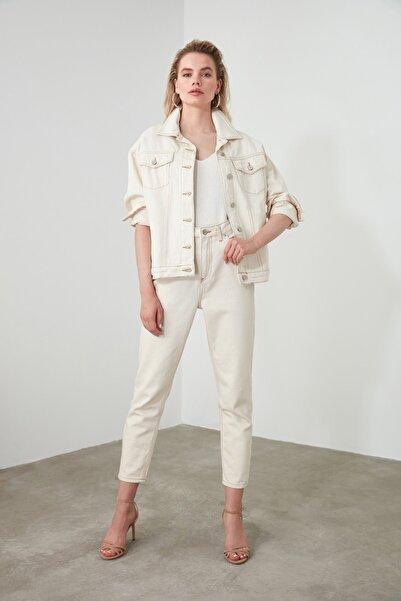 Ekru Yüksek Bel Mom Jeans TWOSS20JE0200