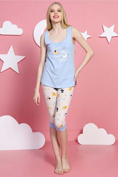 VİENETTA Kadın Mavi  Kalın Askılı Normal Beden Lycralı Pamuklu Kaprili Pijama Takım