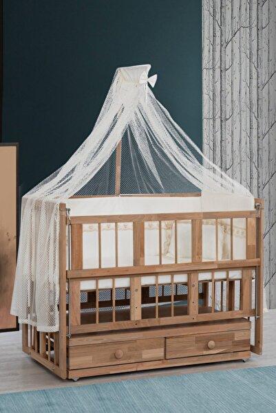 Setay Beşik, Doğal Ahşap Çekmeceli Sallanan Anne Yanı Beşik + 120x60 Yatak + Cibinlik