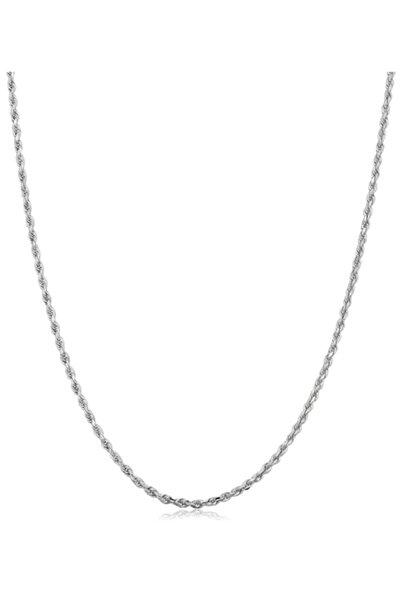 Onur Silver 925 Ayar Gümüş Burgulu Halat Model Rodyumlu Gümüş Zincir Elmas Kesim Italyan