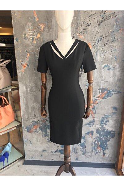 Perspective Kadın Siyah Yaka Detaylı Kısa Elbise