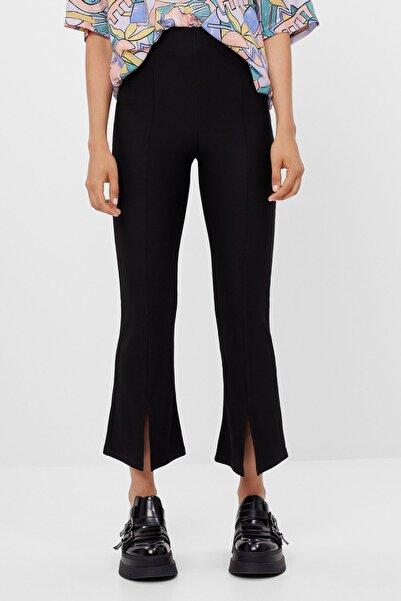 Bershka Kadın Siyah İspanyol Paça Ottoman Kumaş Pantolon