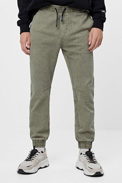 Bershka Erkek Haki Slim Fit Jogging Fit Pantolon