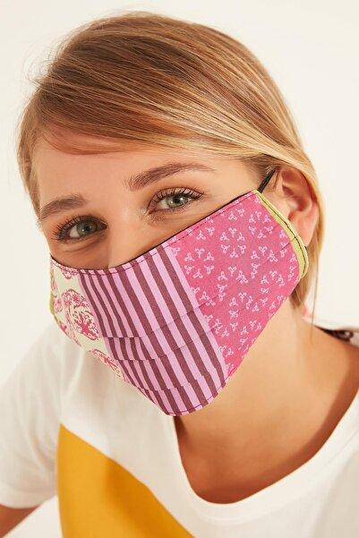 Y-London 114 Karışık Desenli Fuşya % 100 Pamuk Maske