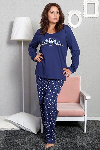 VİENETTA Kadın Lacivert O Yaka U Kol Pijama Takım