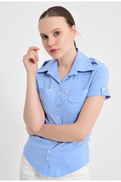 Sima Kadın Gök Mavisi Kısa Kollu Gömlek