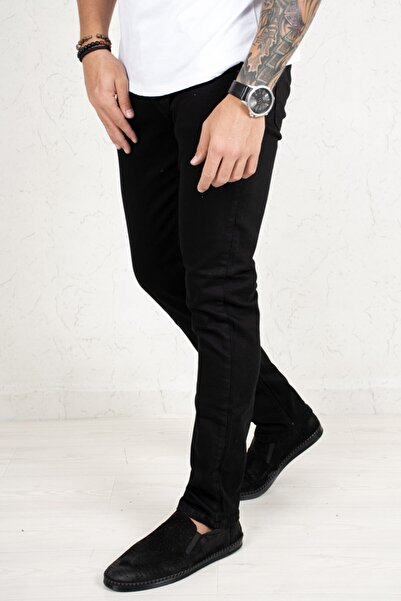 DeepSEA Erkek Siyah Arka ve Küçük Cep Yıldırım Detaylı Likralı Kot Pantolon 2011806
