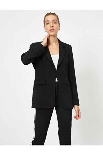 Koton Kadın Siyah Cep Detayli Blazer Ceket