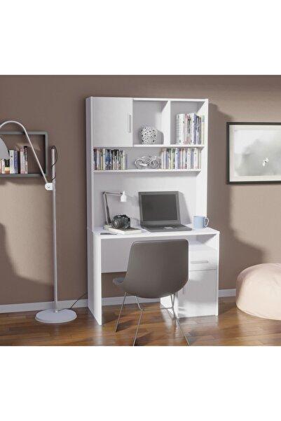 Shila Home Çalışma Masası Kitaplıklı Beyaz
