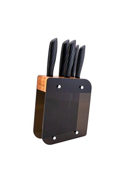 Siyah Çelik Kumsal Standlı Bıçak Seti 6 Parça