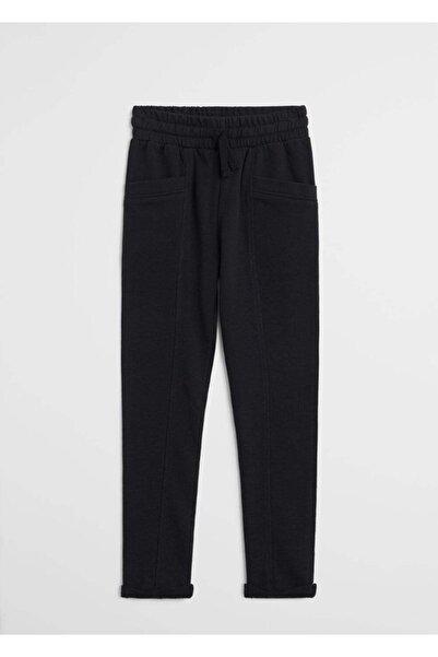 MANGO Kids Kız Çocuk Siyah Organik Pamuklu Düz Kesim Pantolon