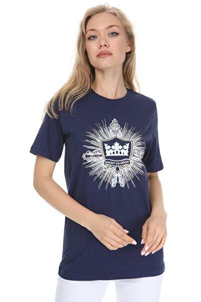 GHASSY CO. Kadın Lacivert Boyfriend T-shirt