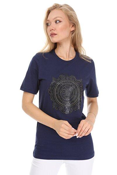 GHASSY CO. Kadın Lacivert Boyfriend T-shirt 869866047