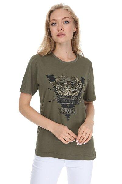 GHASSY CO. Kadın Haki Eagle Stone Boyfriend T-Shirt