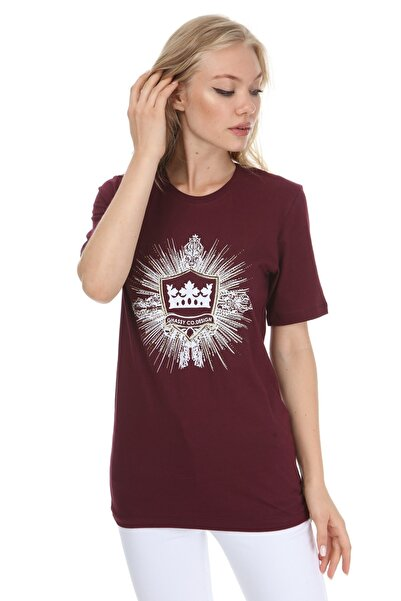GHASSY CO. Kadın Bordo Crown Stone Boyfriend T-shirt 869866046