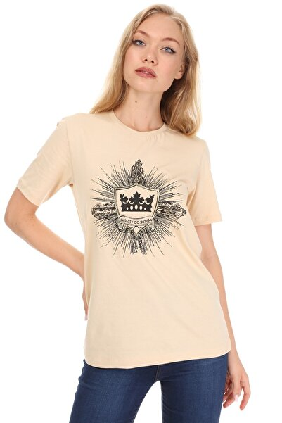 GHASSY CO. Kadın Bej T-shirt 869866046