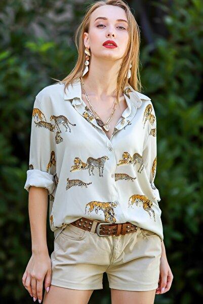 Chiccy Kadın Taş Vintage Kaplan Desenli Gömlek M10010400Gm99518
