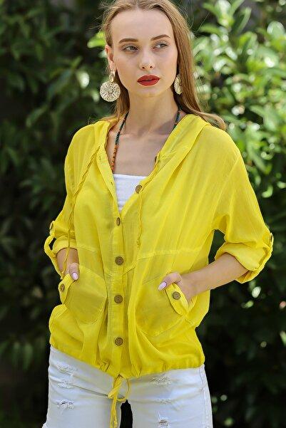 Chiccy Kadın Neon Sarı Casual Kapüşonlu Düğmeli Beli Ip Detaylı Büzgülü Yıkmalı Ceket M10210100Ce99339