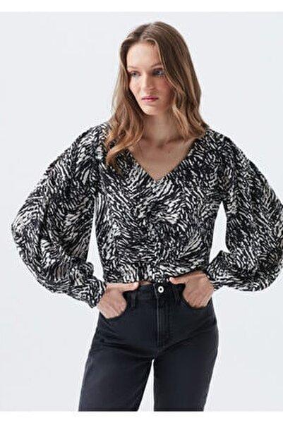 Zebra Baskılı Siyah Bluz