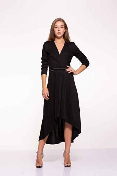 Tuba Ergin Kadın Siyah Simli Işlemeli Kemer Detaylı Midi Rennie Elbise
