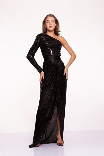 Tuba Ergin Kadın Siyah Komple Boncuk Işlemeli Nervür Kemer Detaylı Tek Kol Yırtmaçlı Maxi Trina Elbise