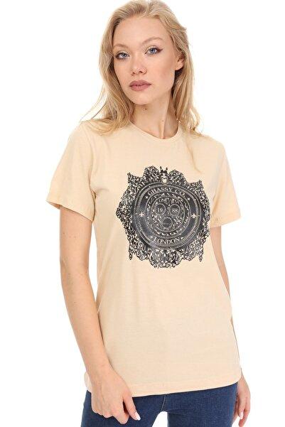 GHASSY CO. Kadın Bej  Bisiklet Yaka T-shirt 869866047