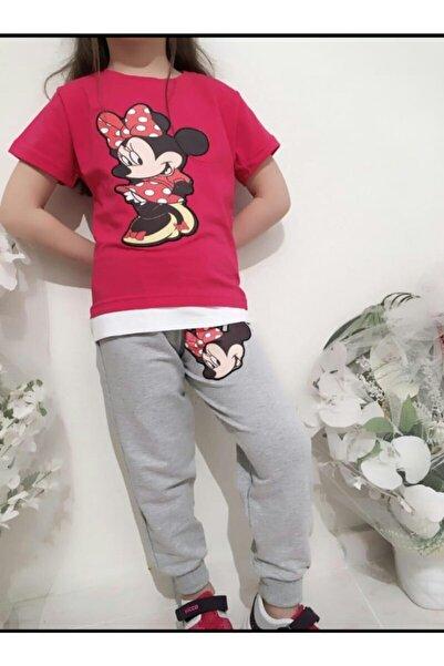 MINNIE Kız Çocuk Pembe Minnie Mouse Alt Eşofman İki İp Üst Süprem Penye İkili Takım