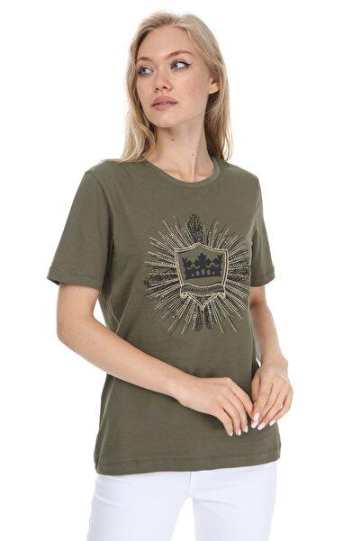 GHASSY CO. Kadın Haki Baskılı Boyfriend T-shirt 869866046