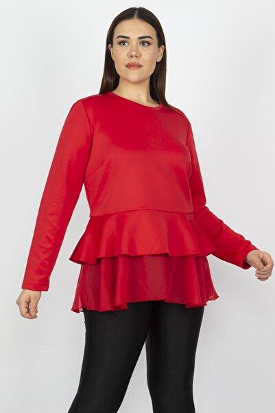 Şans Kadın Kırmızı Etek Ucu Volanlı Bluz 65N17280