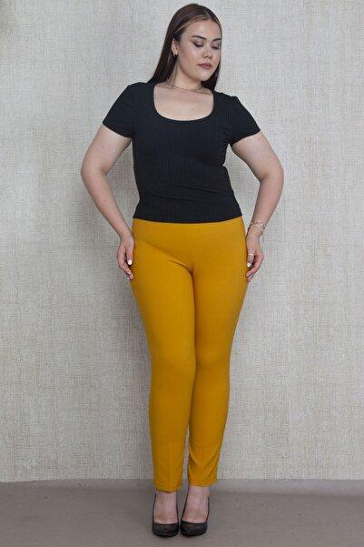 Şans Kadın Hardal Krep Kumaş Gizli Kemer Yan Fermuarlı Klasik Pantolon 65N17329