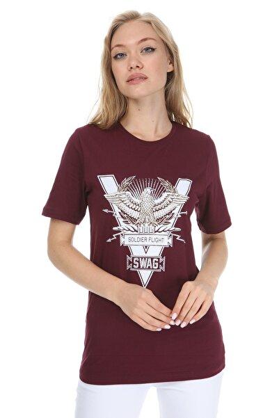 GHASSY CO. Kadın Bordo Eagle Stone T-shirt 869866045