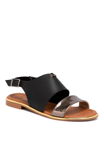 Tergan Siyah Vegan Kadın Sandalet 210026d62