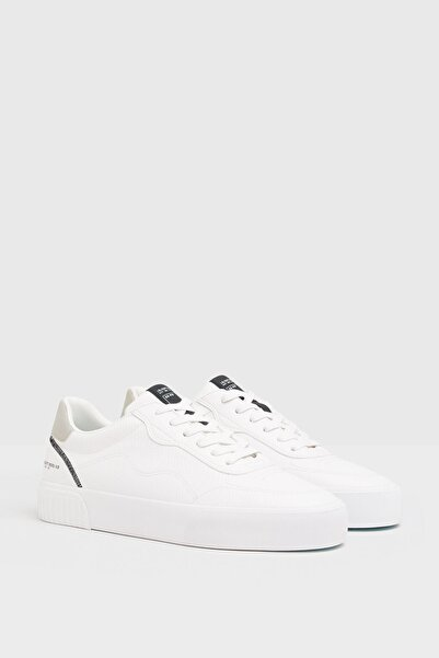 Bershka Erkek Beyaz Desen Kabartmalı Spor Ayakkabı