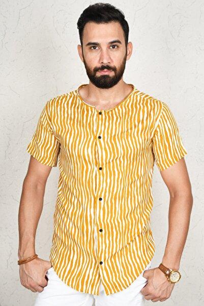DeepSEA Erkek Hardal Sarısı Çizgili Kısa Kol Gömlek 2002806