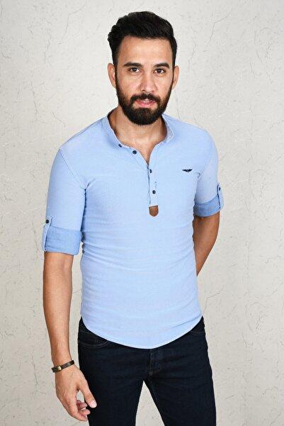 DeepSEA Erkek Mavi Açık Slim Fit Uzun Kol Gömlek 2002808
