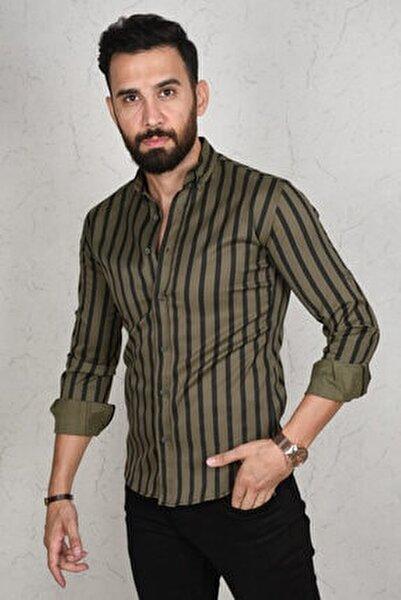 Erkek Haki Çizgili Dar Kesim Gömlek 2002814