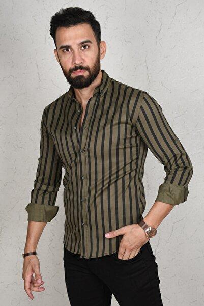DeepSEA Erkek Haki Çizgili Dar Kesim Gömlek 2002814